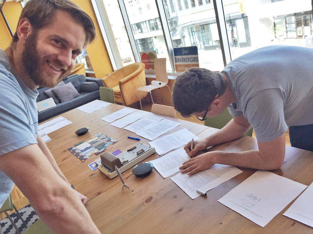 Contract signing day with my co-founder Andrew